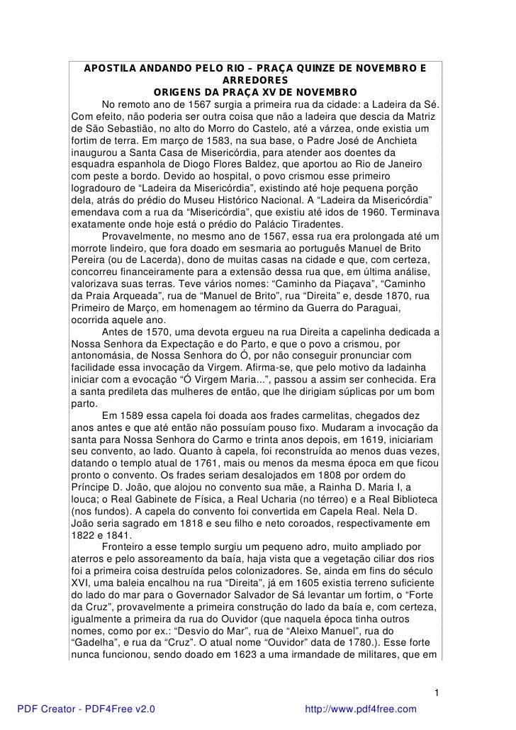 APOSTILA ANDANDO PELO RIO – PRAÇA QUINZE DE NOVEMBRO E                                            ARREDORES               ...
