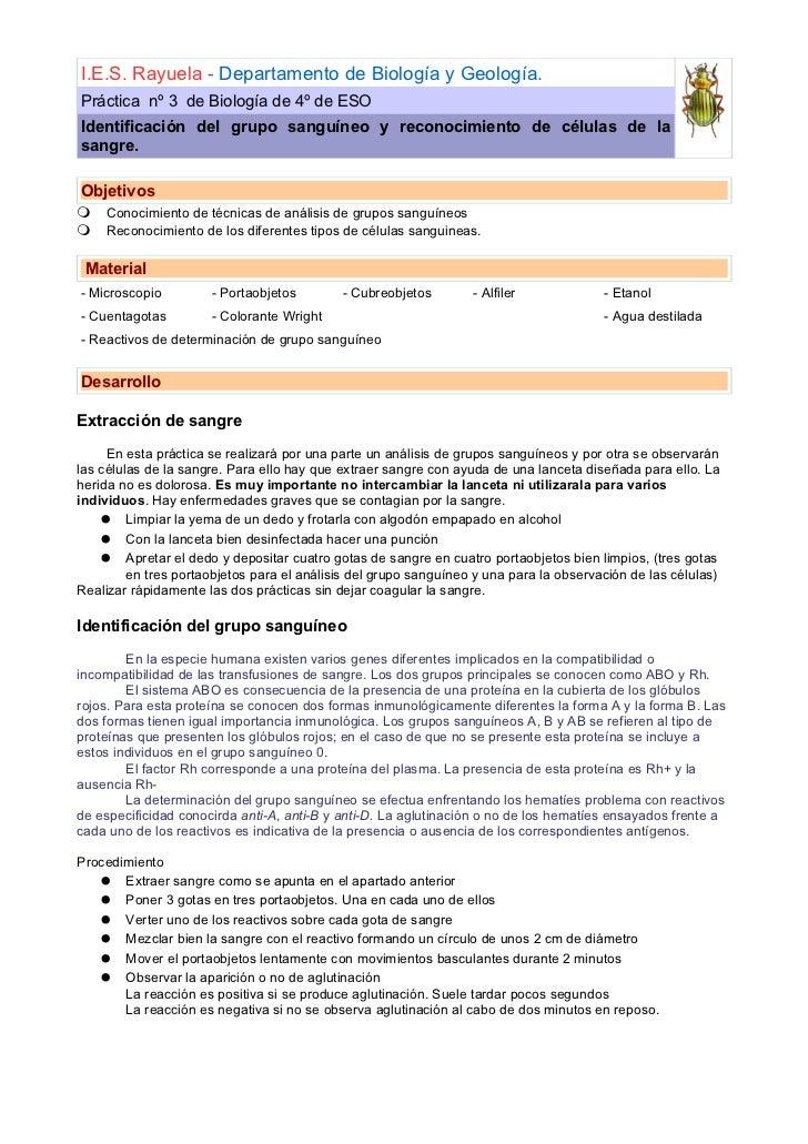 I.E.S. Rayuela - Departamento de Biología y Geología. Práctica nº 3 de Biología de 4º de ESO Identificación del grupo sang...