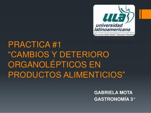"""PRACTICA #1 """"CAMBIOS Y DETERIORO ORGANOLÉPTICOS EN PRODUCTOS ALIMENTICIOS"""" GABRIELA MOTA GASTRONOMÍA 3°"""