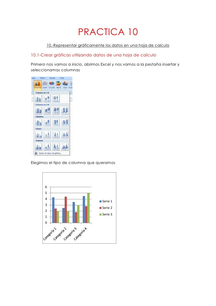 PRACTICA 10        10.-Representar gráficamente los datos en una hoja de calculo10.1-Crear gráficas utilizando datos de un...