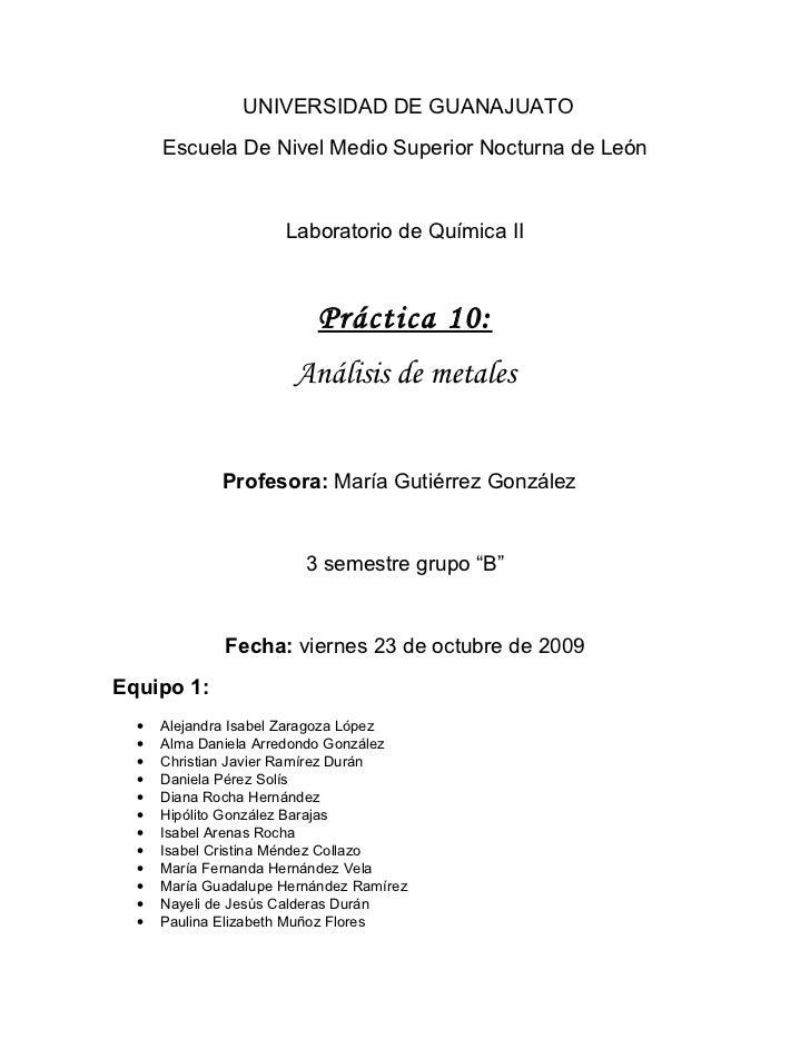 UNIVERSIDAD DE GUANAJUATO       Escuela De Nivel Medio Superior Nocturna de León                         Laboratorio de Qu...