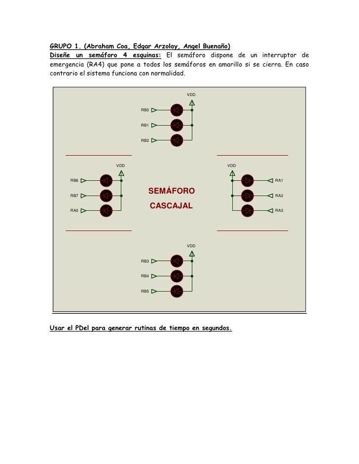 GRUPO 1. (Abraham Coa, Edgar Arzolay, Angel Buenaño)Diseñe un semáforo 4 esquinas: El semáforo dispone de un interruptor d...