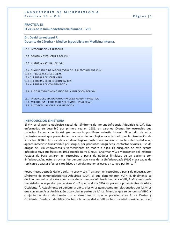 LABORATORIO DE MICROBIOLOGIAPráctica 13 – VIH                                                                 Página  1PRA...