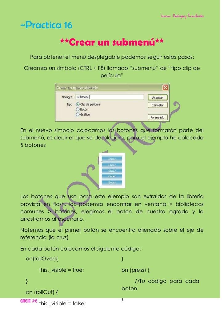 Lorena Rodríguez Turrubiates~Practica 16                    **Crear un submenú**      Para obtener el menú desplegable pod...
