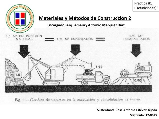Materiales y Métodos de Construcción 2 Sustentante: José Antonio Estévez Tejeda Matricula: 12-0625 Practica #1 (Definicion...