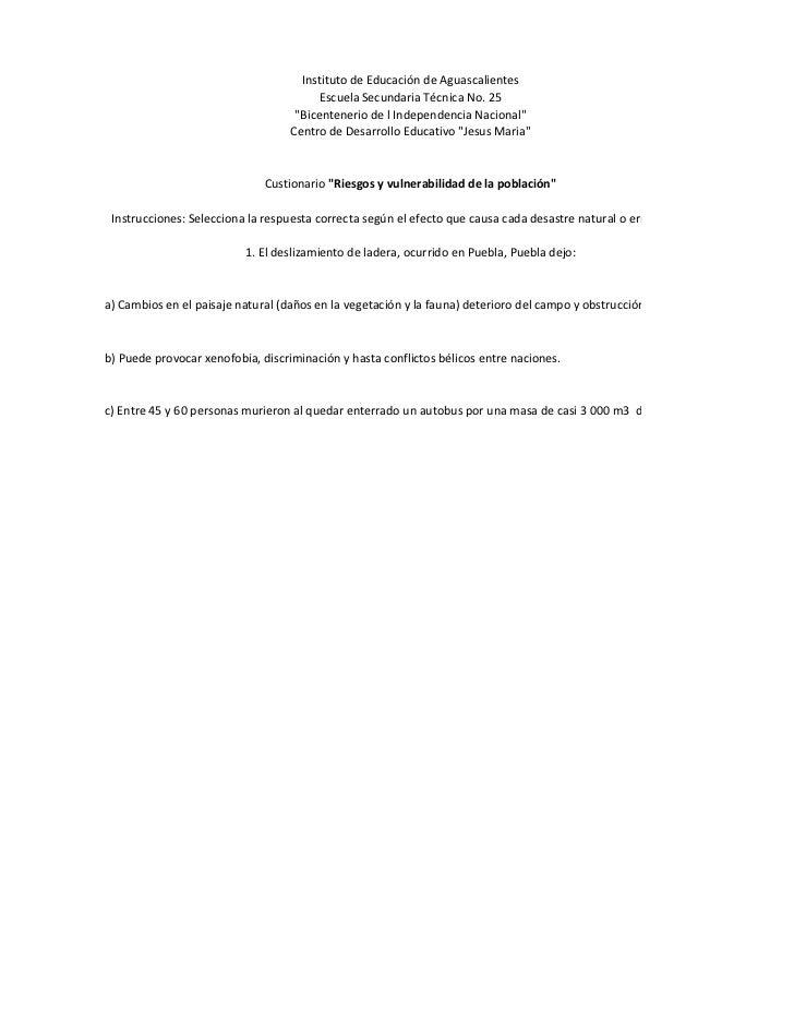 Instituto de Educación de Aguascalientes                                          Escuela Secundaria Técnica No. 25       ...