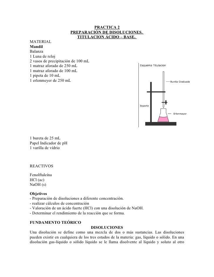 PRACTICA 2                         PREPARACIÓN DE DISOLUCIONES.                           TITULACION ÁCIDO – BASE. MATERIA...