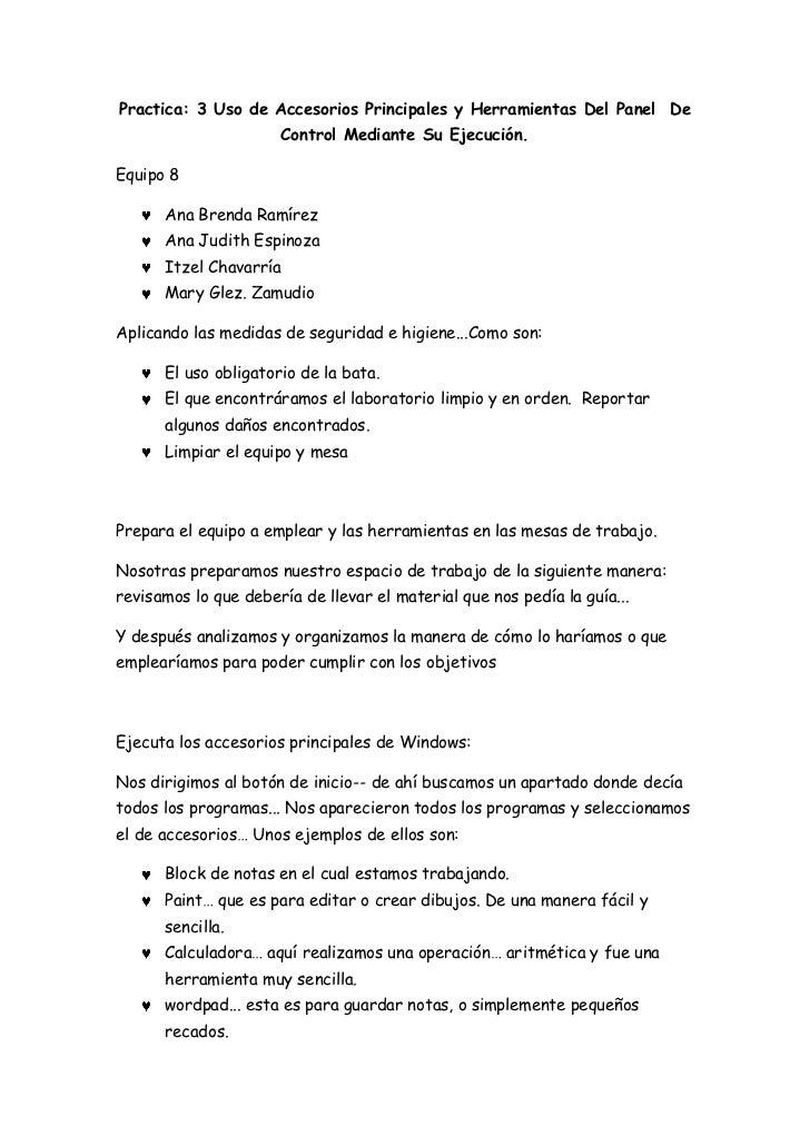 Practica: 3 Uso de Accesorios Principales y Herramientas Del Panel De                      Control Mediante Su Ejecución.E...