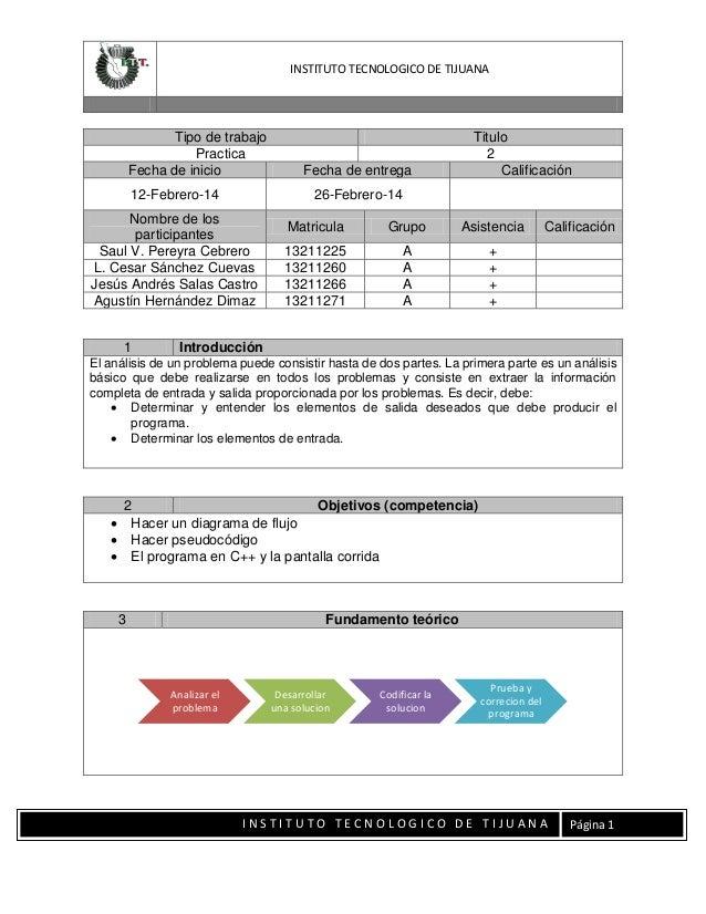 INSTITUTO TECNOLOGICO DE TIJUANA  Tipo de trabajo Practica Fecha de inicio 12-Febrero-14  26-Febrero-14  Nombre de los par...