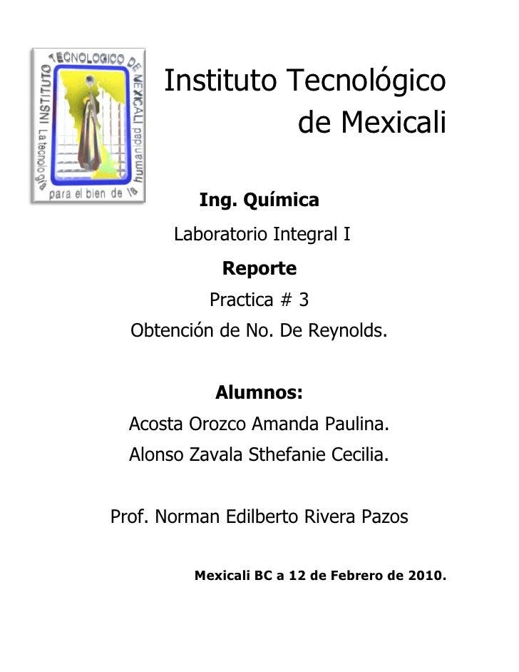 Instituto Tecnológico                  de Mexicali            Ing. Química        Laboratorio Integral I              Repo...