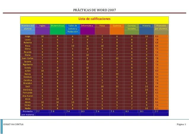 PRÁCTICAS DE WORD 2007                                                                     Lista de calificaciones        ...