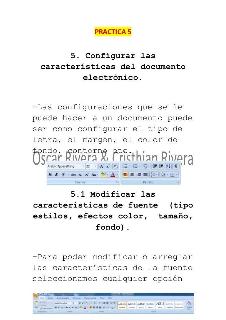 PRACTICA 5       5. Configurar las características del documento          electrónico.-Las configuraciones que se lepuede ...