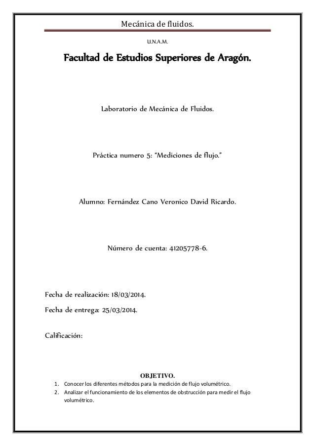 Mecánica de fluidos. U.N.A.M. Facultad de Estudios Superiores de Aragón. Laboratorio de Mecánica de Fluidos. Práctica nume...
