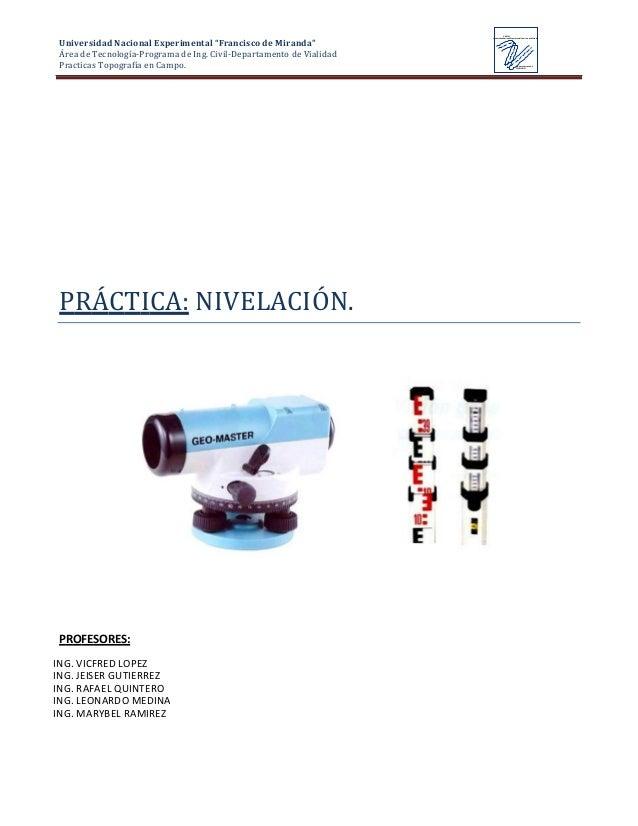 """Universidad Nacional Experimental """"Francisco de Miranda"""" Área de Tecnología-Programa de Ing. Civil-Departamento de Vialida..."""