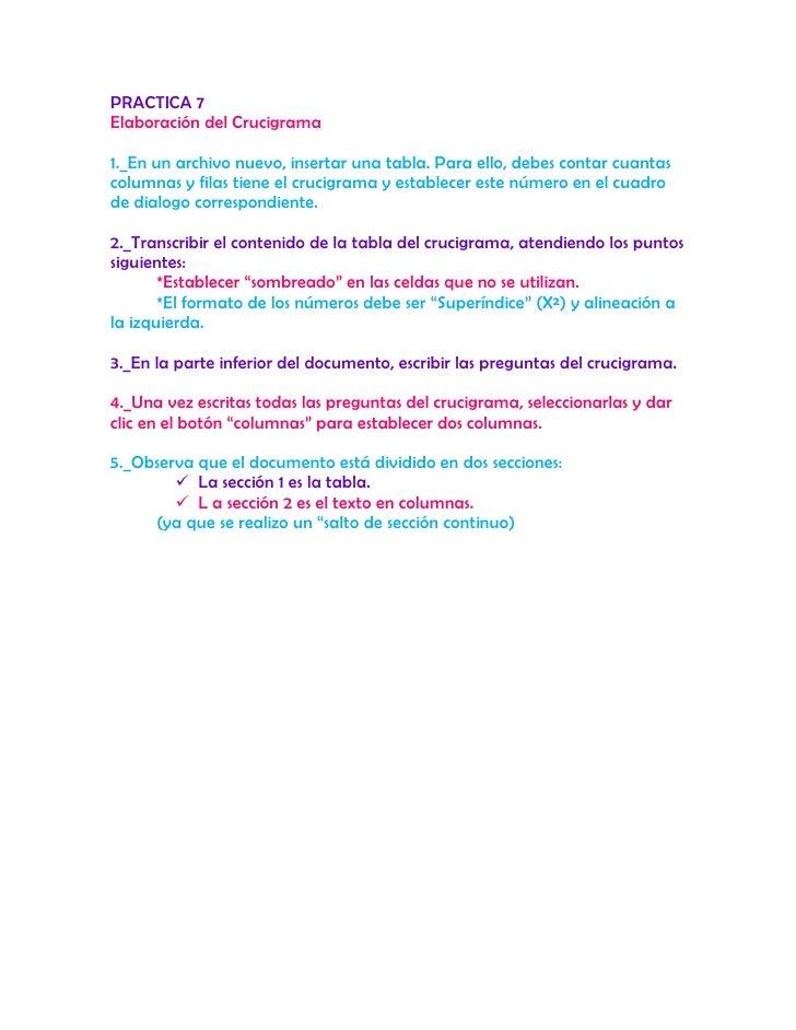 PRACTICA 7<br />Elaboración del Crucigrama<br />1._En un archivo nuevo, insertar una tabla. Para ello, debes contar cuanta...