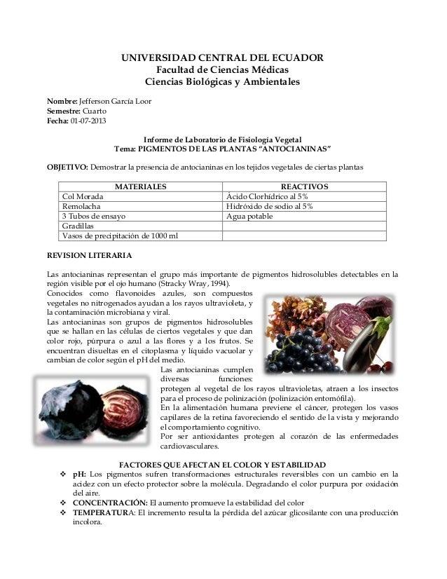 UNIVERSIDAD CENTRAL DEL ECUADOR Facultad de Ciencias Médicas Ciencias Biológicas y Ambientales Nombre: Jefferson García Lo...