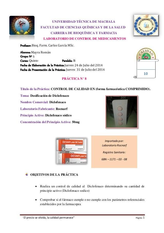 """""""El precio se olvida, la calidad permanece"""" Página 1 Importado por: Laboratorio Rocnarf Registro Sanitario: 6BN – 1171 – 0..."""