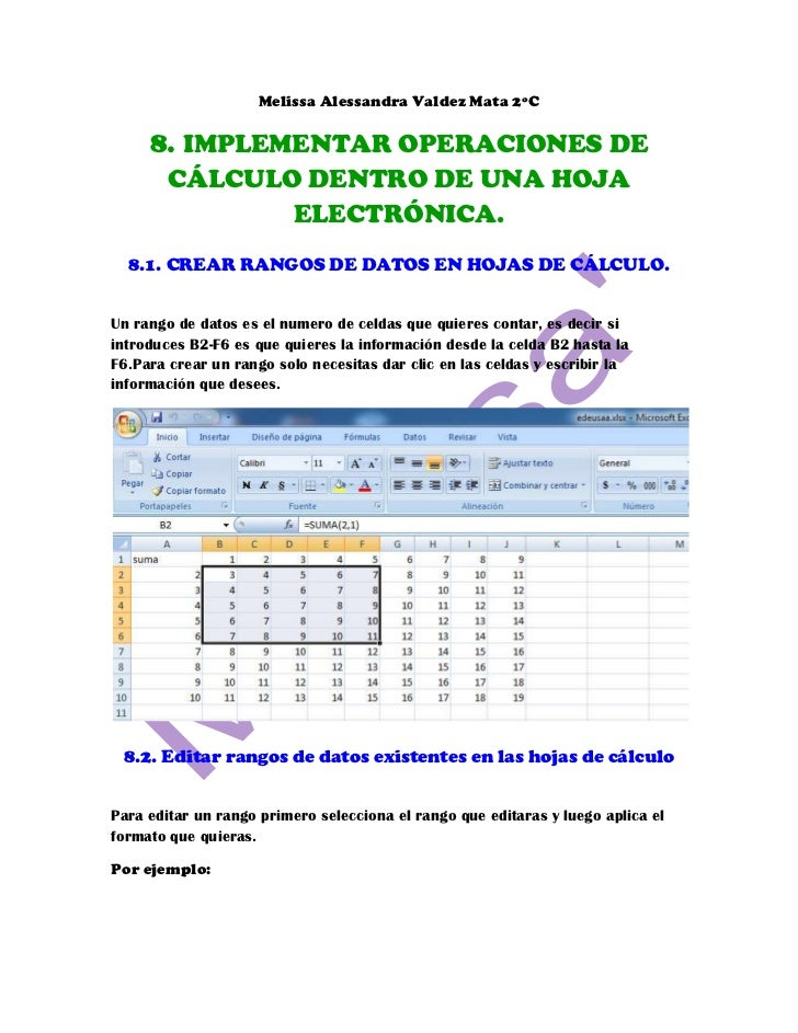 Melissa Alessandra Valdez Mata 2ºC     8. IMPLEMENTAR OPERACIONES DE        CÁLCULO DENTRO DE UNA HOJA               ELECT...