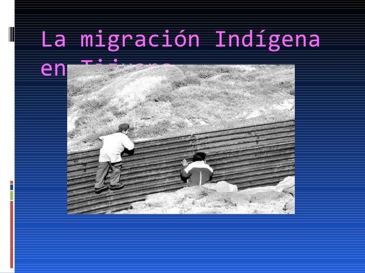 La migración Indígena  en Tijuana
