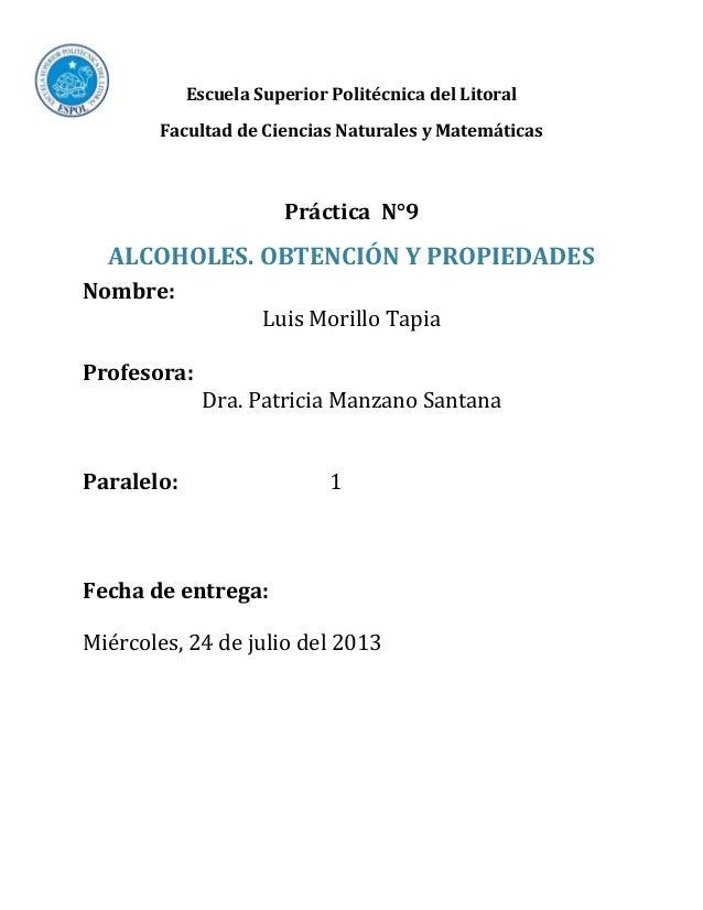 Practica 9 (Alcoholes: Obtención y Propiedades)