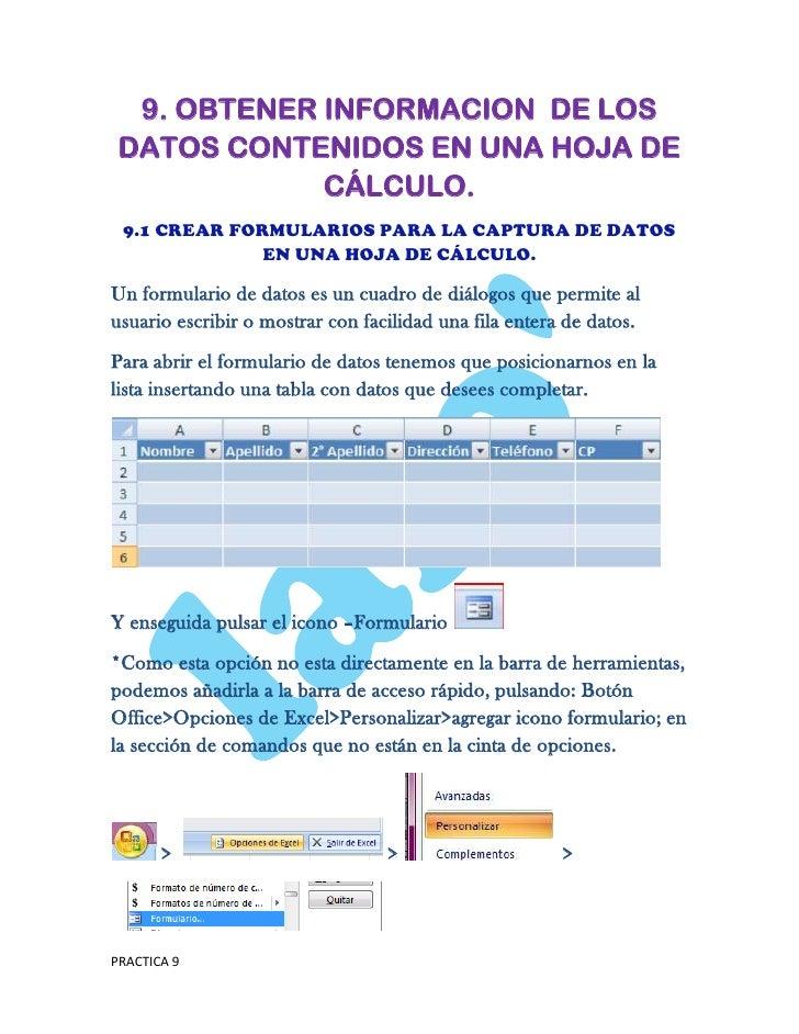 9. OBTENER INFORMACION DE LOS DATOS CONTENIDOS EN UNA HOJA DE             CÁLCULO. 9.1 CREAR FORMULARIOS PARA LA CAPTURA D...