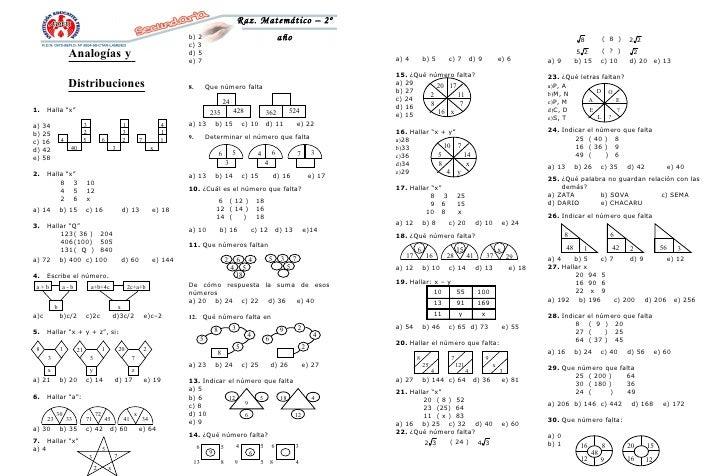 Raz. Matemático – 2º                                                                                      b) 2            ...