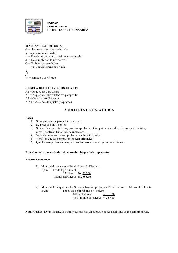 UNIPAP                  AUDITORIA II                  PROF: HESSEN HERNANDEZ     MARCAS DE AUDITORÍA Ø = cheques con fecha...