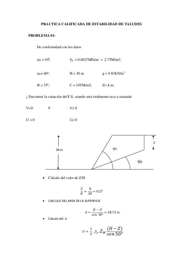 PRACTICA CALIFICADA DE ESTABILIDAD DE TALUDES PROBLEMA 01: De conformidad con los datos P = 50º, γr = 0.0027MPa/m = 2.7TM...