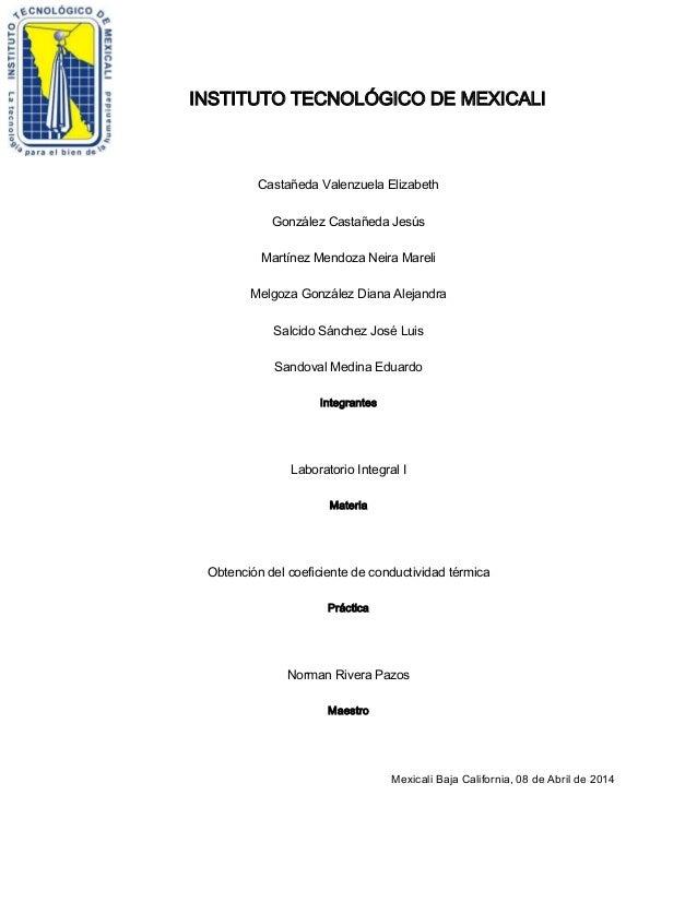 Practica coeficiente de conductividad termica