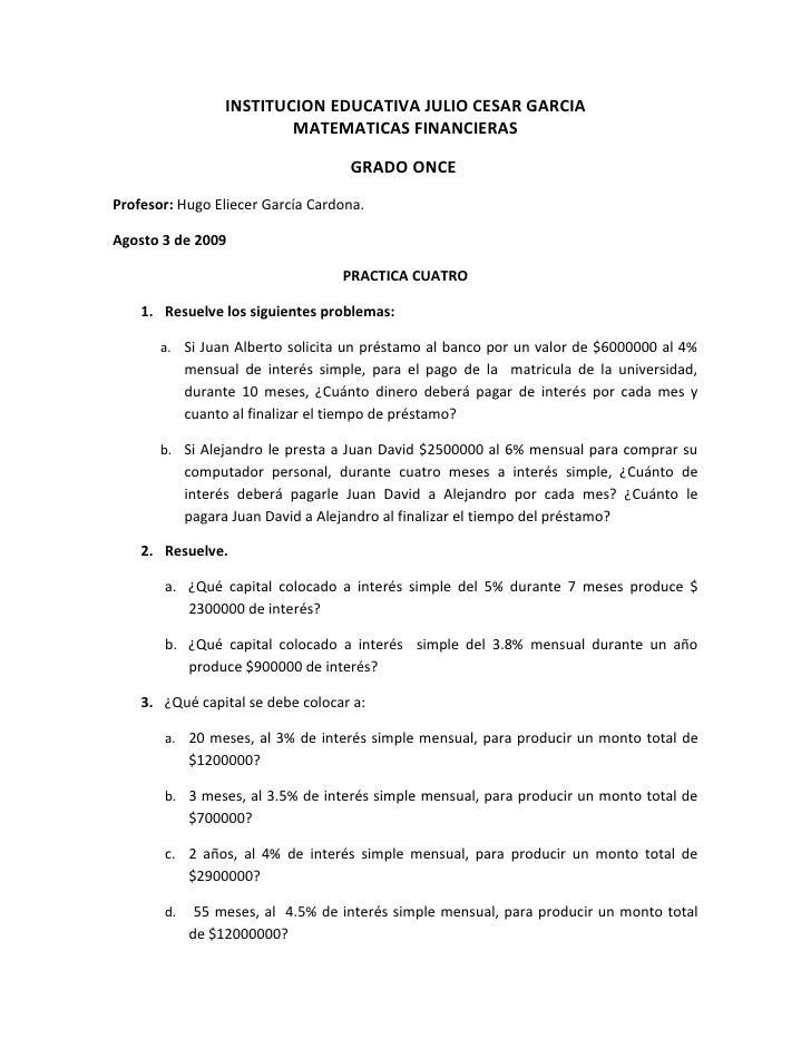INSTITUCION EDUCATIVA JULIO CESAR GARCIA                          MATEMATICAS FINANCIERAS                                 ...