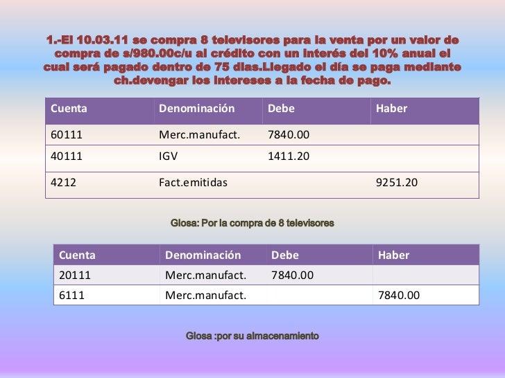 1.-El 10.03.11 se compra 8 televisores para la venta por un valor de compra de s/980.00c/u al crédito con un interés del 1...