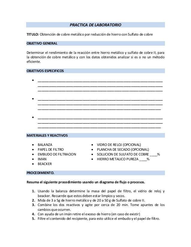 PRACTICA DE LABORATORIO TITULO: Obtención de cobre metálico por reducción de hierro con Sulfato de cobre OBJETIVO GENERAL ...