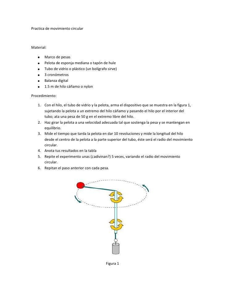 Practica de movimiento circular<br />Material:<br /><ul><li>Marco de pesas