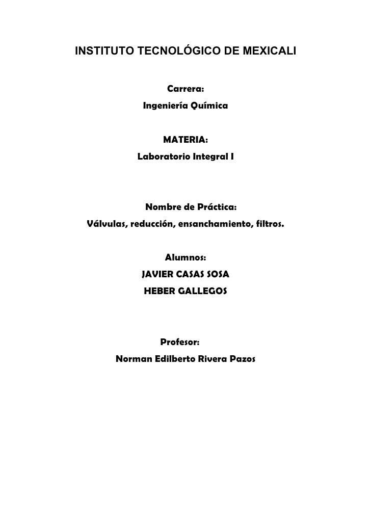 INSTITUTO TECNOLÓGICO DE MEXICALI                      Carrera:              Ingeniería Química                     MATERI...