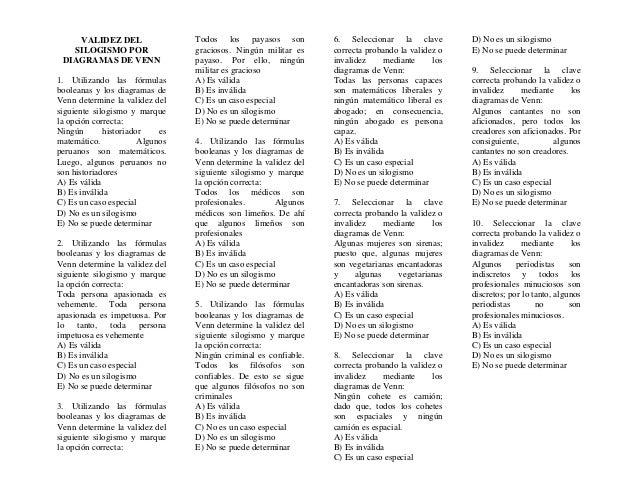 VALIDEZ DEL SILOGISMO POR DIAGRAMAS DE VENN 1. Utilizando las fórmulas booleanas y los diagramas de Venn determine la vali...
