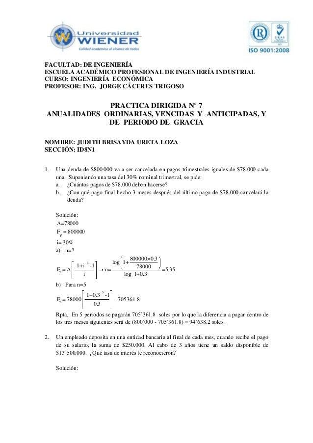 FACULTAD: DE INGENIERÍAESCUELA ACADÉMICO PROFESIONAL DE INGENIERÍA INDUSTRIALCURSO: INGENIERÍA ECONÓMICAPROFESOR: ING. JOR...