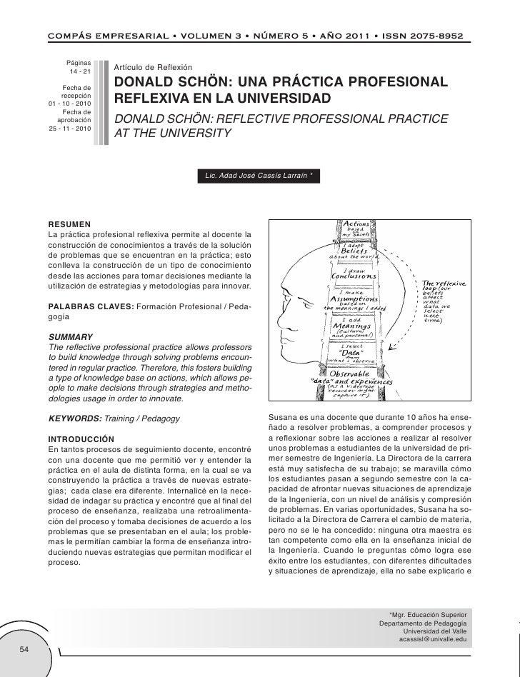 Páginas                        Artículo de Reflexión                        DONALD SCHÖN: UNA PRÁCTICA PROFESIONAL        ...