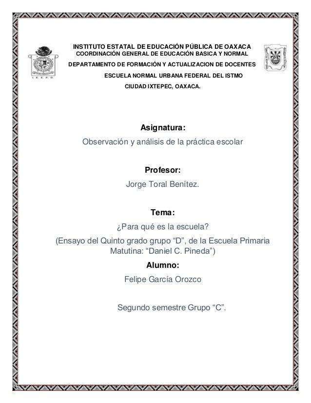 INSTITUTO ESTATAL DE EDUCACIÓN PÚBLICA DE OAXACA COORDINACIÓN GENERAL DE EDUCACIÓN BASICA Y NORMAL DEPARTAMENTO DE FORMACI...