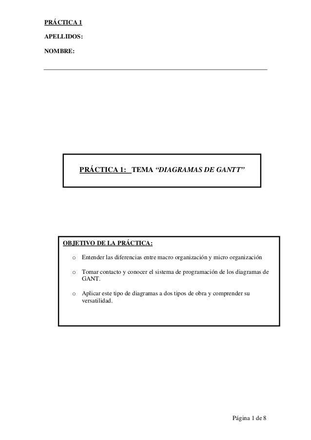 """PRÁCTICA 1APELLIDOS:NOMBRE:          PRÁCTICA 1: TEMA """"DIAGRAMAS DE GANTT""""    OBJETIVO DE LA PRÁCTICA:       o Entender la..."""