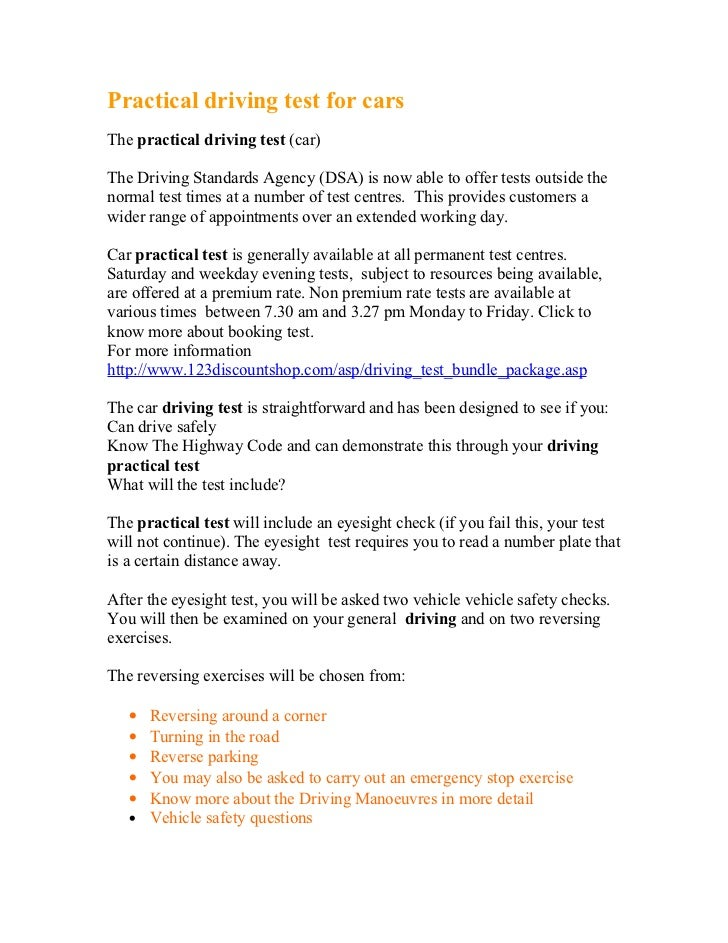 Practical driving test for carsThe practical driving test (car)The Driving Standards Agency (DSA) is now able to offer tes...