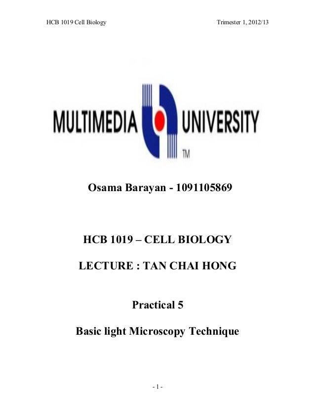 HCB 1019 Cell Biology Trimester 1, 2012/13 Osama Barayan - 1091105869 HCB 1019 – CELL BIOLOGY LECTURE : TAN CHAI HONG Prac...