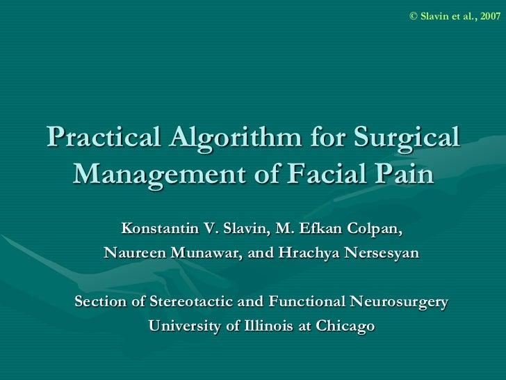 Practical algorithm for surgical management of facial pain