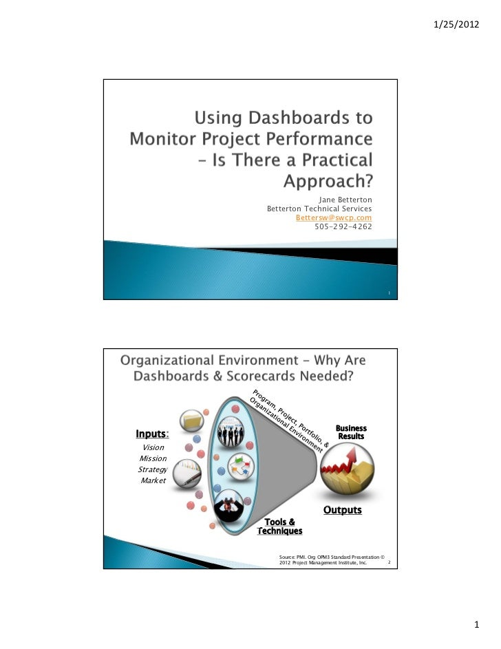Using Dashboards to Monitor Project Performance - Is there a Practical Approach?