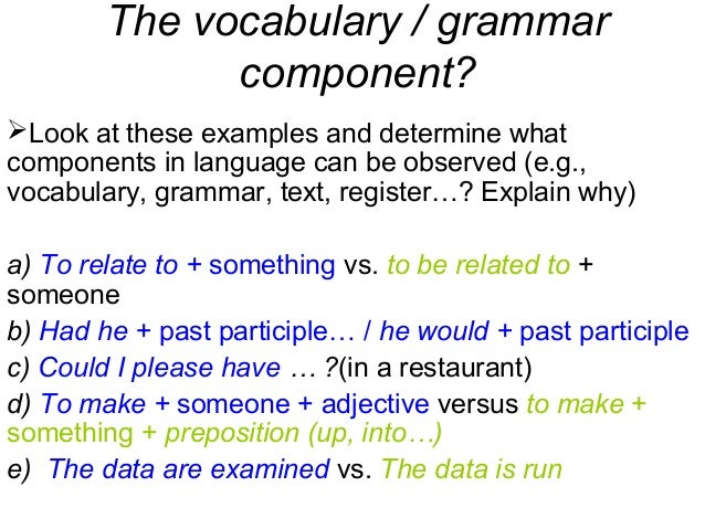 The vocabulary / grammar component? Look at these examples and determine what components in language can be observed (e.g...
