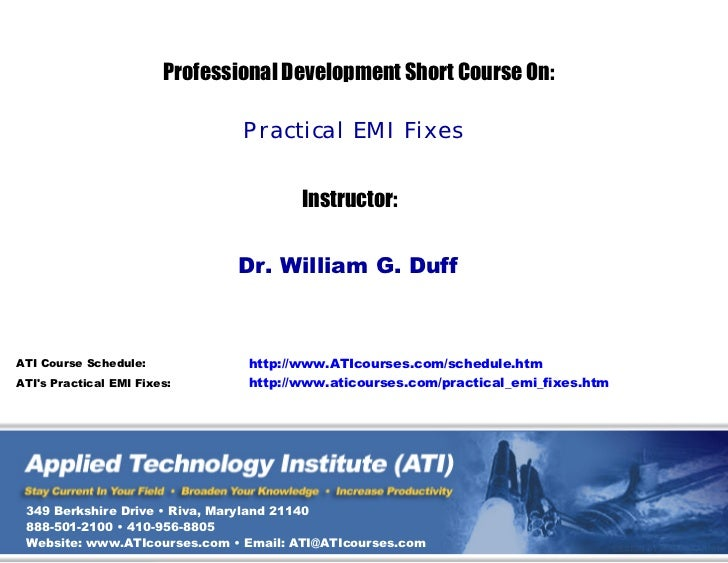 ATI's Practical EMI Fixes Technical Training Course Sampler