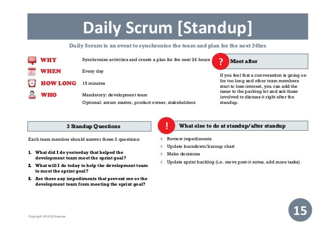 scrum standup meeting template practical guide to scrum scrum agenda template and daily scrum. Black Bedroom Furniture Sets. Home Design Ideas