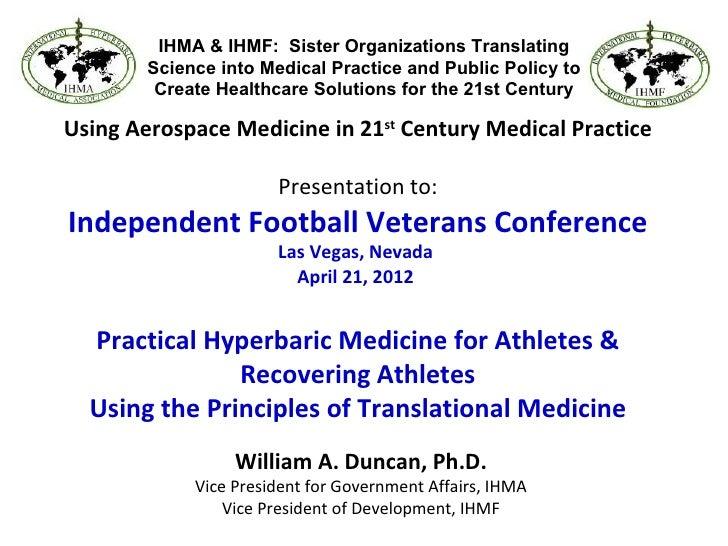 Hyperbarics for Athletes Dr Bill Duncan