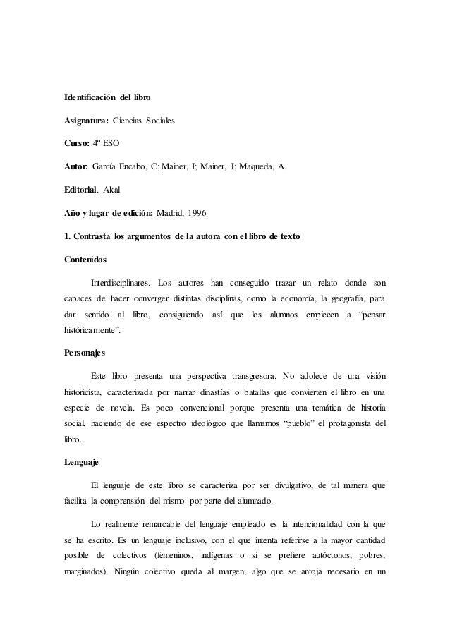 Identificación del libro  Asignatura: Ciencias Sociales  Curso: 4º ESO  Autor: García Encabo, C; Mainer, I; Mainer, J; Maq...