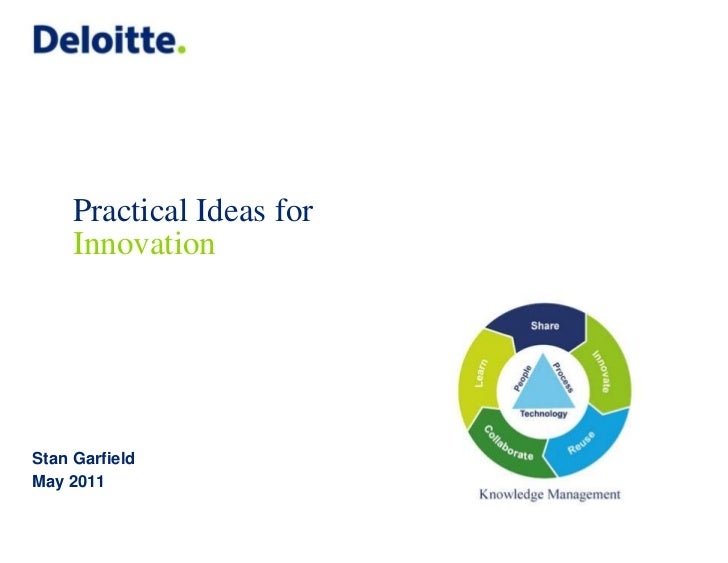 Practical Ideas for     InnovationStan GarfieldMay 2011                           © 2011 Deloitte Global Services Limited