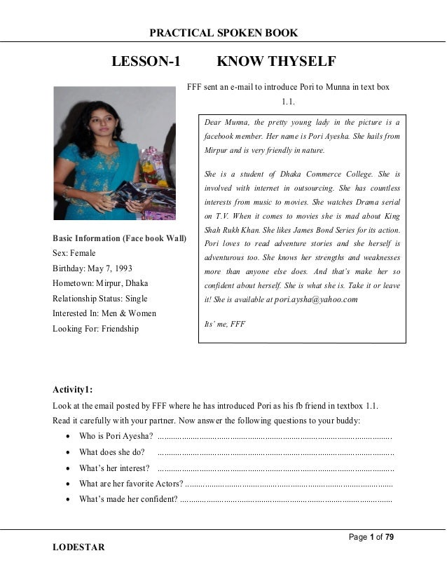 PRACTICAL SPOKEN BOOK Page 1 of 79 LODESTAR LESSON-1 KNOW THYSELF FFF sent an e-mail to introduce Pori to Munna in text bo...
